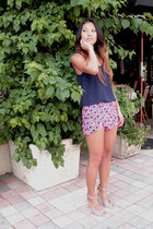 navy silk tank top Blaque Label top - alice & trixie shorts - nude Zara heels