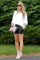 Zara sandals - piperlime shirt - Blair Ritchey bag - Macys shorts