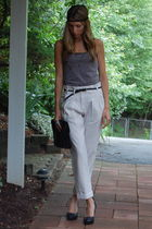 beige Topshop pants - gray H&M top - Aldo shoes