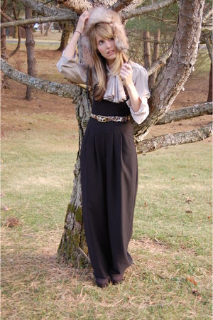 Black Halo jumper - vintage blouse - Forever 21 shoes - H&M hat - TJ Maxx belt