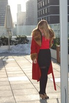 vintage coat - Urban Outfitters shirt - Forever 21 skirt - franco sarto heels