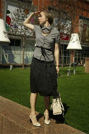 black clockhouse dress - ivory Michael Kors bag