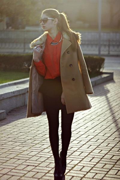 camel Forever 21 coat - carrot orange Forever 21 blouse - black Zara skirt
