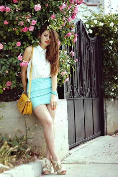 off white new look shirt - light blue Forever 21 skirt