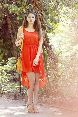 carrot orange new look dress - gold new look bag