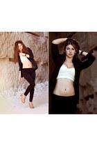 black oodji blazer - eggshell vintage top - nude Zara clogs