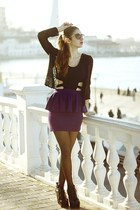 deep purple Paprica dress - brown Forever21 sunglasses - black cardigan