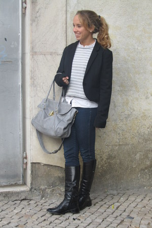 zilian boots - H&M jeans - H&M blazer - Zara shirt - Primark bag