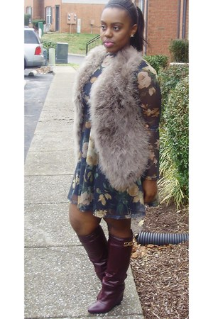 floral mesh dress - turkey feathers vest