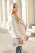 white Zara coat - white Aldo bag