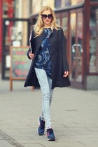 navy Motel Rocks t-shirt - black Sheinside coat - navy Adidas sneakers