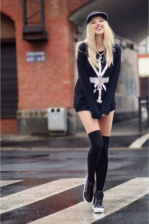 black Sheinside blouse - navy Zara shorts - black Deashop sneakers
