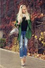 Dark-green-zara-coat-sky-blue-new-look-jeans-white-laza-bag
