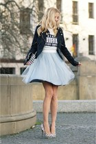light blue sukienkowo dress - black new look jacket - white Aldo heels