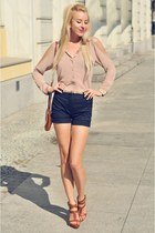 beige Sugarlips top - navy Zara shorts - bronze Stradivarius heels