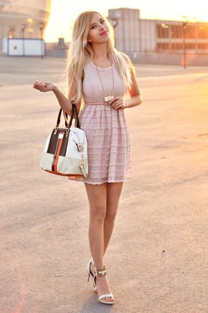 light pink lace River Island dress - white River Island bag