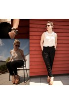 white Forever21 shirt - dark gray tezenis pants - camel Forever21 sandals