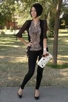 New Yorker leggings - Glazzed bag - New Yorker blouse - Centro heels