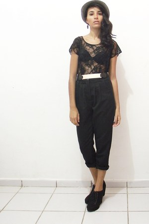 black pants - black skirt - black wedges