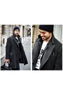 All-saints-coat-apc-hat-sandro-jacket-surface-to-air-bag-kitsune-t-shirt