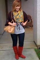 orange Wet Seal boots - gray Forever 21 shirt - blue Ulta accessories - gold For