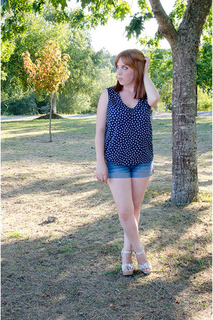 blue c&a shorts - navy Lefties blouse - cream xti heels