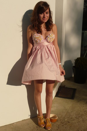 bubble gum homemade dress - burnt orange shoes