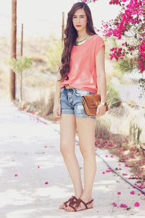 Bershka sandals - Mango bag - Zara shorts - pull&bear necklace - Oysho blouse