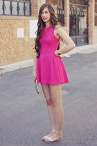 hot pink Zara dress - BLANCO bag - Oysho sandals