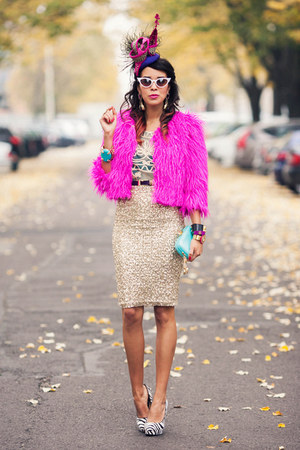 fur pink neon Choies coat - blue pastel Anna Dello Russo for H&amp;M bag