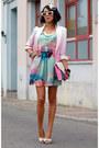 Sheinside-dress-romwe-blazer-white-bow-stradivarius-heels