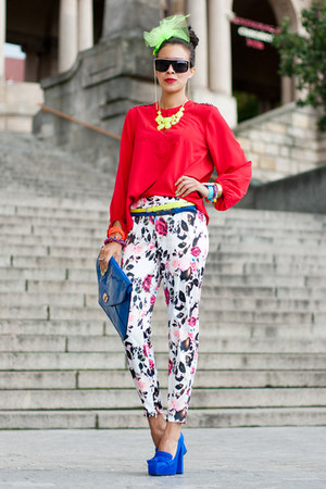flower printed romwe pants - snake skin asos heels