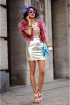 Mango skirt - vintage jumper - pink strappy Stradivarius sandals