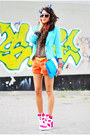 Turquoise-blue-mint-blue-reserved-blazer-carrot-orange-house-shorts
