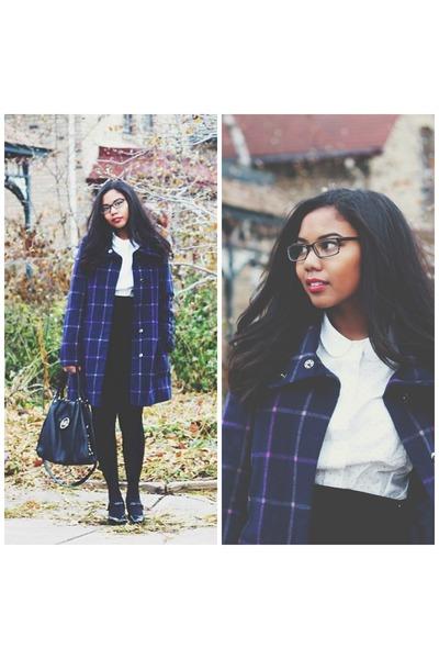 navy plaid Target jacket - white polka dot madewell blouse - black suede skirt