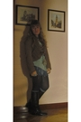 Brown-zara-boots-gray-forever-21-socks-bershka-skirt-blue-zara-t-shirt-b