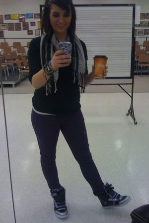 purple Miley Cyrus pants - black Shopko shoes - black Walmart shirt - silver sca
