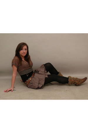 brown belt - gold necklace - brown boots - gold blouse - brown skirt - black top