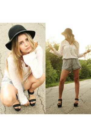 safari Mango shirt - Zara hat - satin H&M shorts - wedges Mango sandals