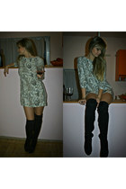 over the knee Mango boots - Mango dress