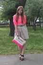 Hot-pink-bershka-bag-black-deichman-sandals-tan-skirt-hot-pink-h-m-blouse