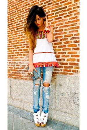Jeffrey Campbell wedges - destroyed Zara jeans - Louis Vuitton purse