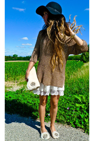 Zara jumper - Topshop dress - BLANCO hat - AMBRE BABZOE flats
