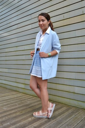 Stradivarius blazer - Lefties sandals - Zara skirt