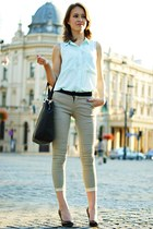 light blue H&M shirt - mustard vjstyle pants