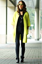 lime green chicnova sweater - black River Island leggings