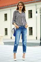 white Primark shirt - navy Primark jeans - silver pull&bear bag