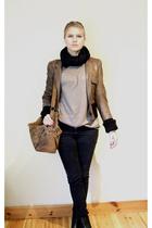 H&M scarf - ann demeulemeester jacket - Zara t-shirt - Cheap Monday jeans - Din