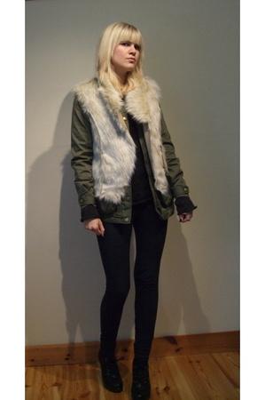 Oasis vest - H&M jacket - Bik Bok pants - Din Sko shoes - MiuMiu sweater