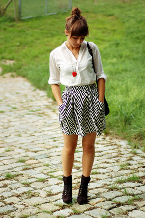 red DIY necklace - black Promod shoes - white H&amp;M shirt - black H&amp;M skirt